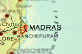 A closeup of Madras, Tamil Nadu in India on a map — Stock Photo