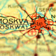 Stock Photo: A closeup of Moscow in Russia on a map