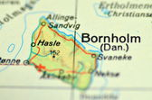 A closeup of Bornholm island on Baltic sea on a map — Stock Photo