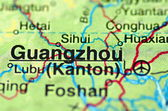 A closeup of Guangzhou, Guangdong in China on a map — Stock Photo