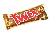 Twix cookie bars isolated on white background — 图库照片