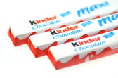 Kinder chocolate bars isolated on white background — Foto Stock