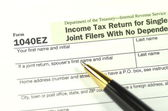 Closeup of us tax form — Stock Photo