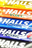 Variety of Halls cough drops — Stok fotoğraf