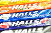 Variety of Halls cough drops — Stock Photo