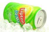 Can of Lipton Ice Tea drink on ice — Stock Photo