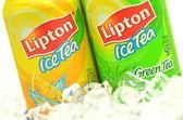 Cans of Lipton Ice Tea drink on ice — Stock Photo