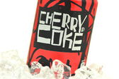 Can of Cherry Coke drink on ice — Stock Photo