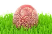 Traditional scratched handmade Easter egg on the grass isolated on white — Stock Photo
