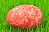 Traditional scratched handmade Easter egg on the grass — Stock Photo