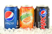 Can of Pepsi, Mirinda and Pepsi Max drink on ice — Stok fotoğraf