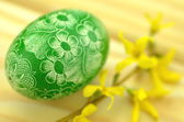 Traditional scratched handmade Easter egg and forsythia flowers — Foto Stock