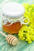 Pote de mel delicioso em uma jarra com flores de colza e dipper mel — Fotografia Stock