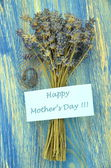 Happy mothers day and bunch of gorgeous dry lavender flowers — Stockfoto