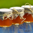 Three jars full of delicious fresh honey in apiary — Stock Photo
