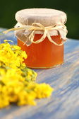Jar of delicious honey with rapeseed flowers — Stock Photo