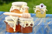 Jars full of delicious honey and bee pollen in apiary — Photo