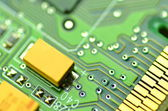 Closeup of electronic circuit board, inside of computer — Stock Photo