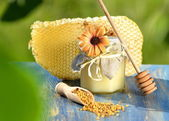 Jar full of delicious honey, honeycomb and bee pollen in apiary — Stockfoto