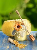 Flying bee over jar full of delicious honey, honeycomb and bee pollen in apiary — Stok fotoğraf