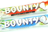 Bounty coconut chocolate bars isolated on white background — Stock Photo