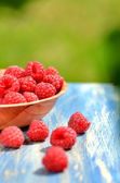 Closeup of ripe, fresh and sweet raspberries in a bowl on table in the garden — Stock Photo