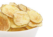 Homemade potato chips isolated on a white background — Stock Photo