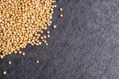 Mustard seeds on dark background — Stock Photo
