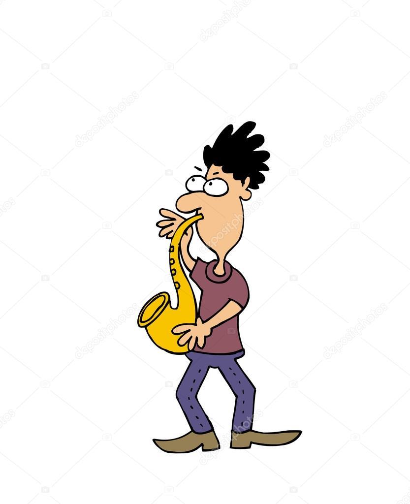 卡通矢量萨克斯管吹奏者 — 图库矢量图像08 peter