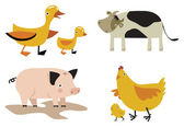 Domestic animals vector set — Stock Vector