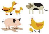 Domestic animals vector set — Stock Vector