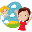 Girl and little angel, easter illustration - Stock Vector