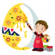A boy adorns an easter egg — Stock Vector