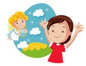Girl and little angel, easter illustration — Stock Vector
