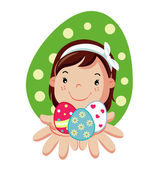 Girl hold in hands easter eggs — Stock Vector