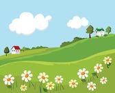 Village summer landscape. vector illustration — Stock Vector