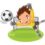 Goalkeeper jump catch a ball — Stock Vector #36242859