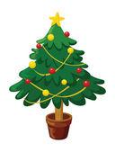 Parlayan yıldız ve süslemeleri ile noel ağacı — Stok Vektör