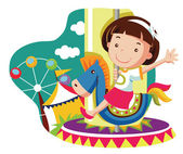 Little girl on carousel horse. vector cartoon illustration — Stock Vector