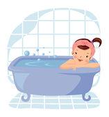 Cartoon glamour girl taking bath — Stock Vector
