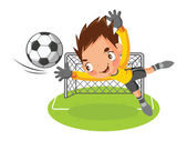 Goalkeeper jump catch a ball — Stock Vector
