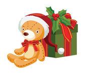 Oso de peluche con una caja de regalo — Vector de stock