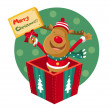 Rudolph stands in a gift box — Stock Vector