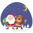 Santa Claus and Rudolph in winter forest — Stock Vector