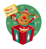 Rudolph stands in a gift box — Wektor stockowy