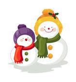 Snow Man and Snow Boy — Stock Vector