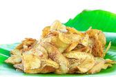 Banana glazed with sugar on banana leaf — Stock Photo