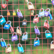 Colorful of Love locks wall — Stock Photo