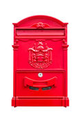 Red mailbox on white wall background — Stock Photo