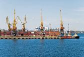 Sea port with loading cranes — Стоковое фото